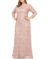 plus size women's js collections beaded a-line gown, size 18w - pink