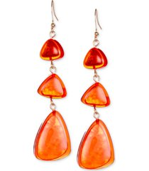 style & co gold-tone resin triple drop earrings, created for macy's