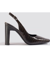 na-kd shoes snake squared front slingback pumps - brown
