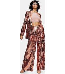 idol copper sequin wide leg pants - copper