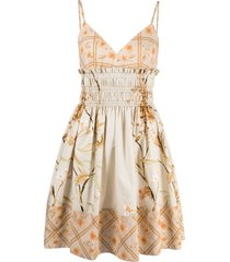 alberta ferretti hibiscus-print mini dress - neutrals