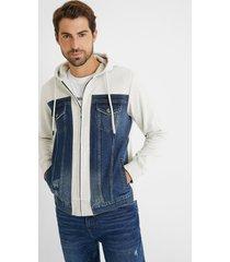 sweatshirt jacket plush hood - black - xxl