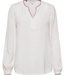 aelin v-neck ls blouse blus långärmad vit tommy hilfiger
