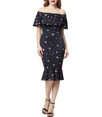 women's kimi and kai flora off the shoulder maternity dress, size medium - blue