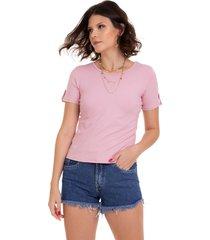 blusa manola t-shirt  - rosa - feminino - elastano - dafiti