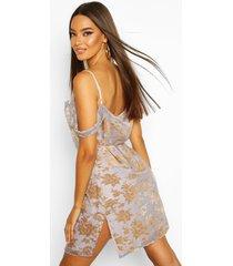 bloemenprint mini jurk met losse col en open schouders, silver