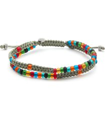 recycled glass bead woven bracelet