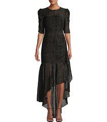joya puff-sleeve asymmetric flounce high-low dress