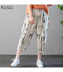 zanzea floral elástico de la cintura de las mujeres algodón de la impresión de los pantalones largos étnicos harén pantalones pantalones -negro