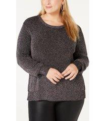 belldini plus size metallic-knit sweater