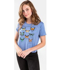 amber butterfly graphic tee - blue