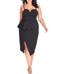 plus size women's city chic screen siren dress, size x-large - black