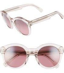 women's maui jim jasmine 51mm polarizedplus2 round sunglasses - crystal pink/ maui rose