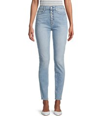 7 for all mankind women's high-rise buttoned skinny jeans - vail - size 24 (0)