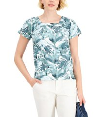 style & co petite printed square-neck top, created for macy's
