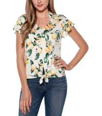 belle by belldini tie front ruffle top