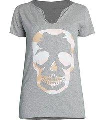 zadig & voltaire women's tunisien camo skull graphic henley t-shirt - white - size m