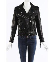 laurie lee i ain't sorry leather moto jacket blue/black sz: s