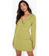 wikkel blazer jurk met lange mouwen, olive