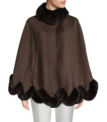 made for generation 800gm rex rabbit fur and wool cape