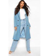 lang geruite boyfriend jas met wollook en dubbele knoopsluiting, blauw