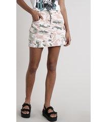 saia de sarja feminina curta cargo estampada camuflada bege claro