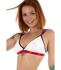 suti㣠top thais gusmã£o silicone tule duplo navy branco - branco - feminino - dafiti
