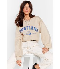 womens there's a party in portland graphic sweatshirt - sand