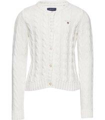 cotton cable cardigan gebreide trui cardigan wit gant