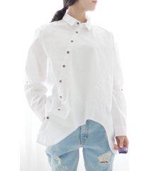 donna casual camicetta con bordo irregolare a bavero in colore a tinta unita a maniche lunghe