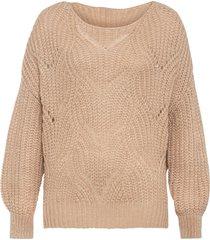 maglione oversize con motivi traforati (beige) - bodyflirt
