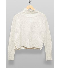 gray marl ribbed cropped knitted sweater - grey marl