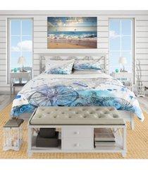 designart 'marine creatures illustration' beach duvet cover set - queen bedding