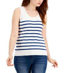 style & co cotton striped sweater-knit tank, created for macy's