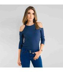 blusa para mujer en poliester poliester azul color azul talla l