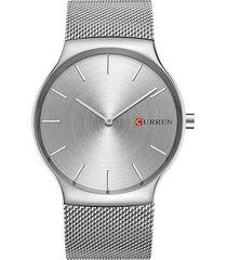 reloj para hombre cuarzo análogo acero curren 8256 plateado