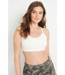 maurices womens white open lace back seamless bralette