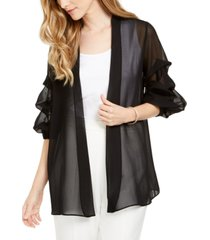msk sheer ruched puff-sleeve jacket
