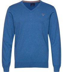 cotton wool v-neck stickad tröja v-krage blå gant
