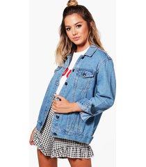petite boyfriend fit jean jacket, blue