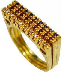 anel triplo com brilhantes quadrados - tricae