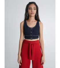 crop top denim contraste costuras