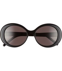 women's saint laurent 56mm round sunglasses - black/ black