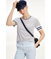 tommy hilfiger women's half-sleeve stripe top fine court stripe/ white/ desert sky - l