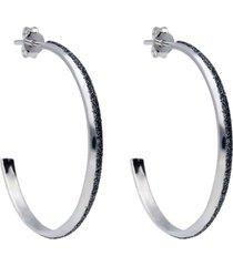 orecchini a cerchio in ottone rodiato e glitter antracite per donna