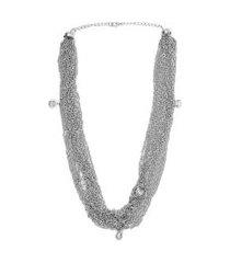 colar bijoulux prateado de correntes prata