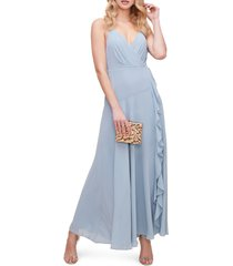 women's astr the label floral ruffle detail maxi dress, size x-small - blue