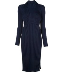 navy ribbed knit midi dress