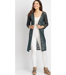maurices womens crochet button front duster cardigan green