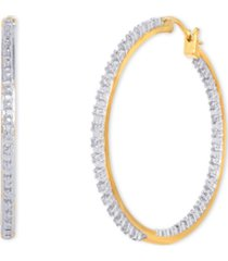 diamond accent large thin hoop earrings in gold-plate